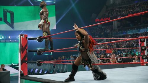 Apollo Crews and Ember Moon defeated Jinder Mahal and Alicia Fox on RAW