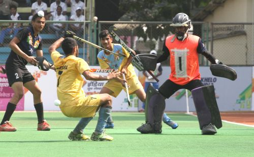 Haryana (Gold medallist) and Punjab (Silver medallist) hockey players in action during final match at Khelo India Youth Games