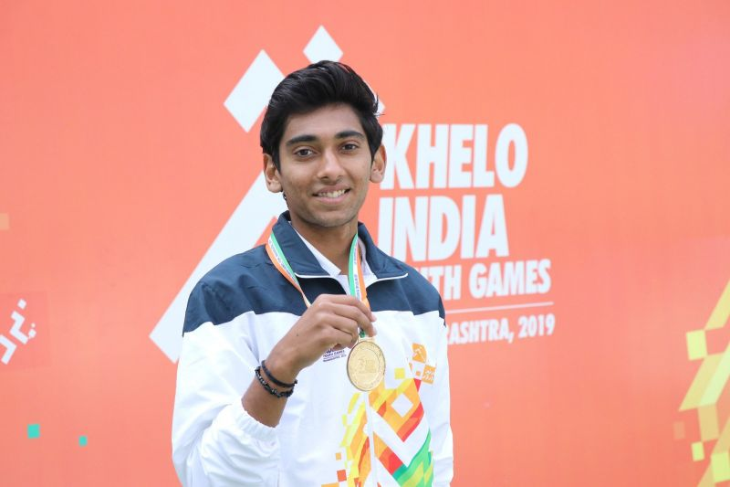 Boys U-17 Tennis gold medal winner Dev Javia from Gujarat with his gold medal at Khelo India Youth Games