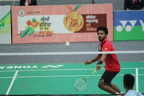 U-21 Boys singles gold medallist, Aman Farogh Sanjay(Maharashtra) at Khelo India Youth Games