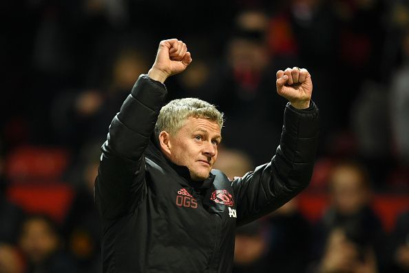 Ole celebrates after another win for his Manchester United side, who continue to gain momentum