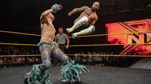 Tyler Breeze performing against Ricochet
