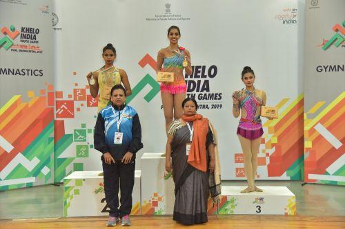 Picture 2- (L-R) Meghana Reddy (TEL), Aditee Dandekar, (MAH) and Mehakpreet Kaur (DLI) during the medal ceremony at Khelo India Youth Games