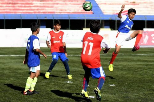 Gautam Rajesh (right) during the Boost-BFC Soccer Shield