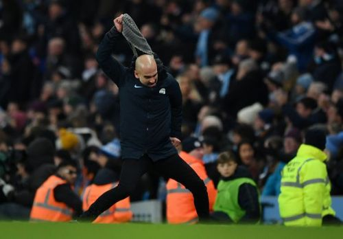 Guardiola celebrating Sane's winner at the Etihad