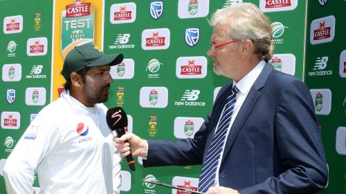 Pakistan skipper Sarfraz Ahmed speaks in the post-match presentation in Cape Town