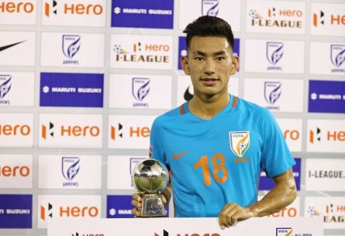 Asish Rai with the Hero of the Match trophy after the win over Shillong Lajong in November 2018