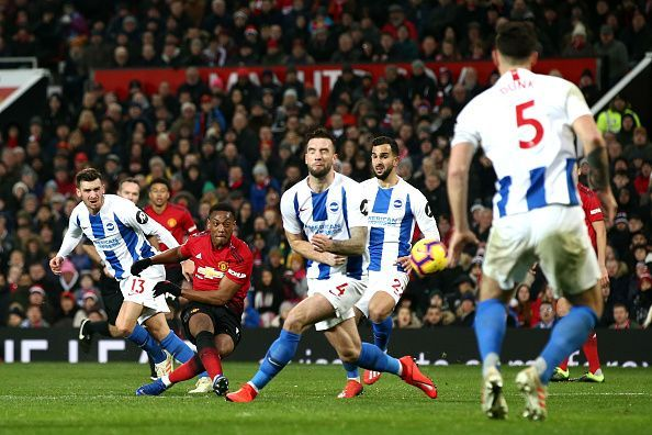 Martial caused Brighton plenty of problems without scoring, though the hosts took advantage of their flaws