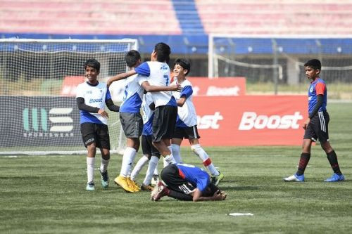 Action from the final day of the Boost BFC Inter-School Soccer Shield