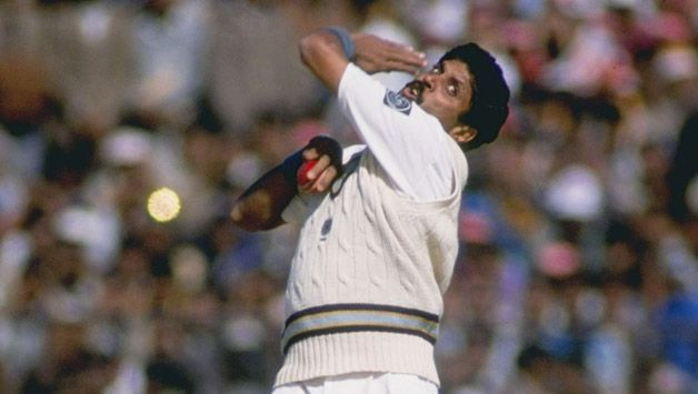 Kapil Dev in his iconic bowling action