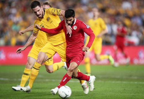 Lebanon's Hassan Maatouk in the red jersey needs to score to keep their qualification hopes alive