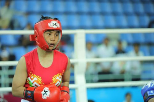 U-17 girls' 52kg (Light Bantam) gold medallist, Noarem Baby Chanu (Red) from Manipur in action