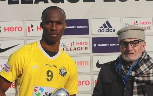 Gnohere Krizo (left) of Real Kashmir struck the only goal of the game