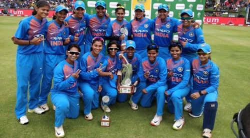 The Indian women's team after defeating South Africa in both the T20s and ODIs