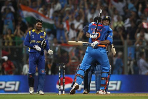 Dhoni and Yuvraj after winning the 2011 World cup