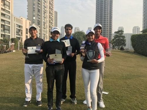 (From left) Shaurya Bhattacharya, winner in the Boys U-16 Category, Keshav Mishra in the Boys U-21 Category and Aryan Roopa Anand, winner, boys in the U-18 Category. Tanishka Kumar, Winner U-21 Girls and Pranavi Urs, U-16 Girls