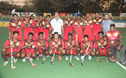 Team Odisha, gold medallist in U21 boys hockey at Khelo India Youth Games, during their final match against Haryana