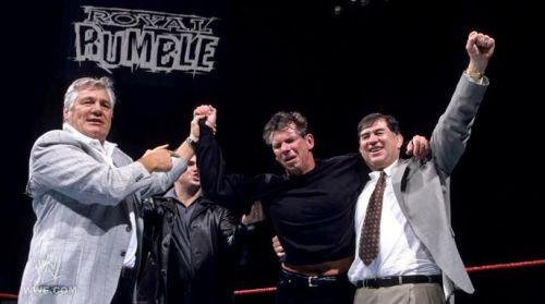 Mr. McMahon celebrates his 'Rumble victory