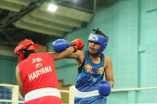 Haryana's Raj Sahiba (in blue) in action in girls U-17 boxing