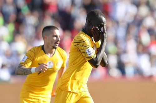 Australia's Awer Mabil with his trademark celebration after netting in the group stage
