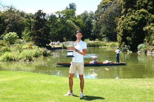 Novak Djokovic with the 2019 Australian Open Trophy
