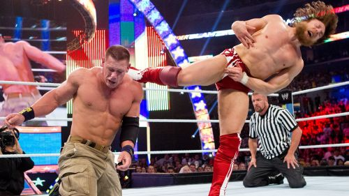 John Cena and Daniel Bryan battling at WWE Summerslam 2013