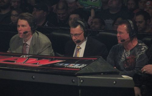 Lawler (right) with JBL and Michael Cole on commentary