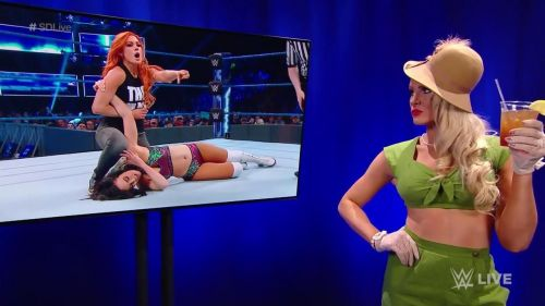 Lacey Evans was watching the match from backstage