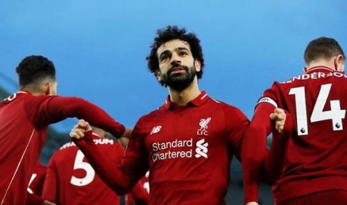 Mohamed Salah celebrates the goal
