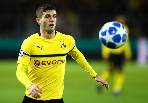 Christian Pulisic in action for Borussia Dortmund