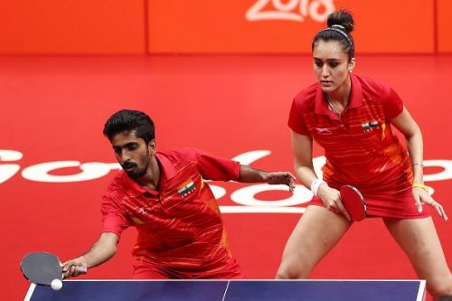 File photo of Manika Batra (R) in action during the CWG Games