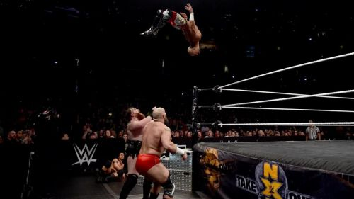Ricochet nails a springboard shooting star plancha at Takeover: New Orleans