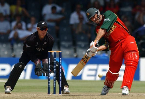 Zimbabwe captain Heath Streak hits out during his innings of 72 not out