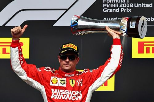Kimi celebrates after his win at last year's US Grand Prix in Octob