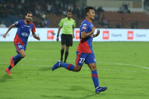 Chencho Gyeltshen of Bengaluru FC wheels away after scoring against NorthEast United