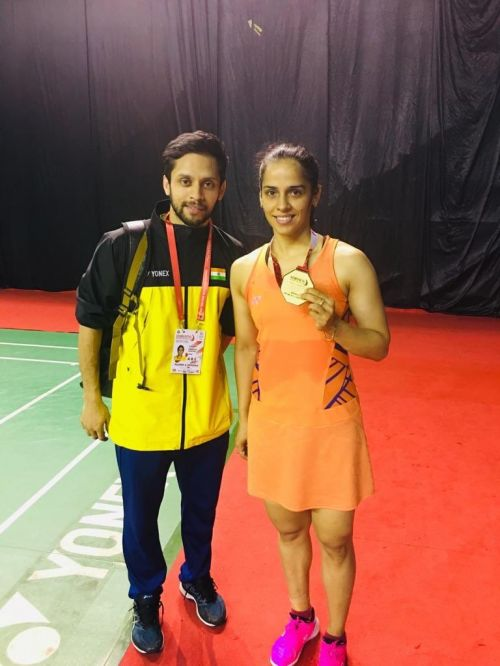 Saina Nehwal with Parupalli Kashyap after the medal ceremony