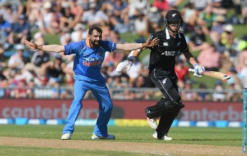 Mohammed Shami in action during the first New Zealand-India ODI