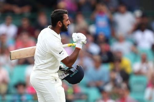 Pujara celebrated his century with a fist pump