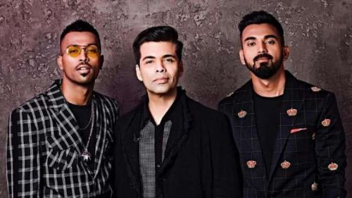 Hardik Pandya, KL Rahul and Karan Johar posing for Koffee with Karan Show