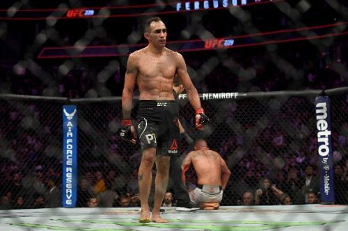 Tony Ferguson walks away from a downed Anthony Pettis at UFC 229