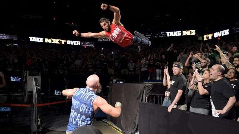 Not the only time Johnny would leap on Ciampa in this match.
