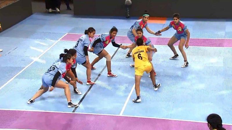 Delhi (Girl's U-17) vs. Himachal Pradesh (Girl's U-17) at Kabaddi games of Khelo India 2018.