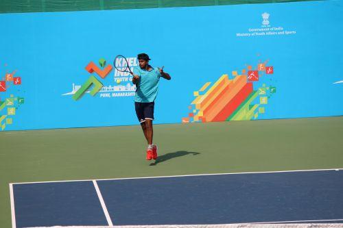 Faisal Qamar of Rajasthan in action at Khelo India Youth Games