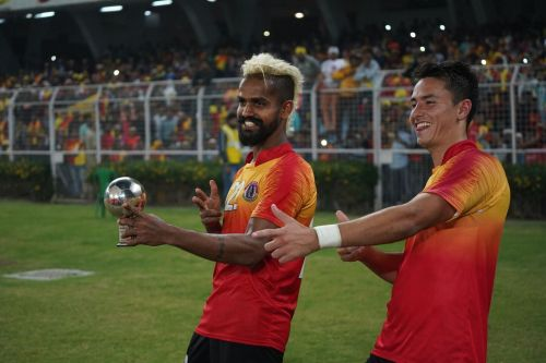 Justin and Santos in joyous mood after the match