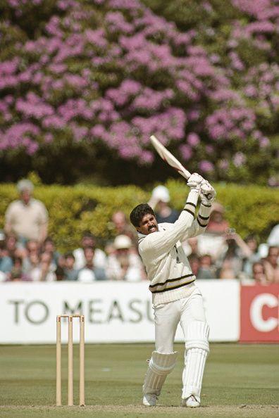 Kapil Dev playing an attacking shot