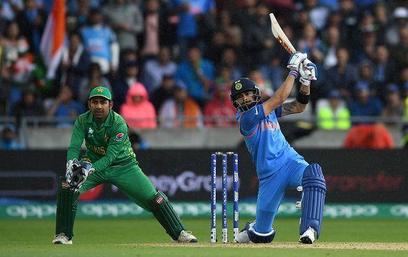 Virat Kohliplaying a cover drive: India v Pakistan - ICC Champions Trophy