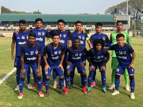 Starting XI of Chennaiyin FC 'B' against Kerala Blasters Reserves in the Second Division League