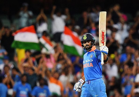 Virat Kohli celebrating his 39th ODI hundred
