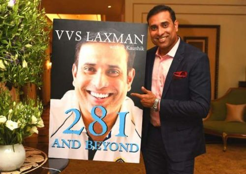 V.V.S. Laxman With His New Book