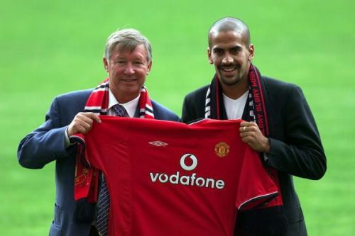Sir Alex Ferguson and Juan Sebastián Verón